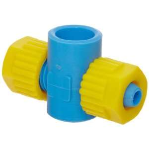 Compression Tube Fitting, Double Banjo Body, Blue/Yellow, 5/16 Tube