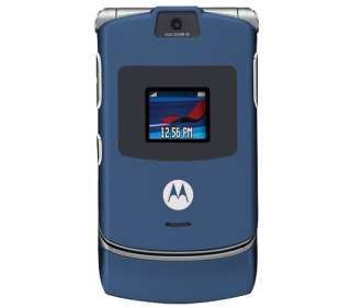 Motorola   V3 GSM Razr Blue   Unlocked   New Flip Phone w/ Warranty