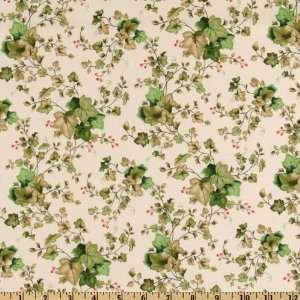44 Wide Pretty In Pink Pansy Ivy Vines Ivory Fabric By