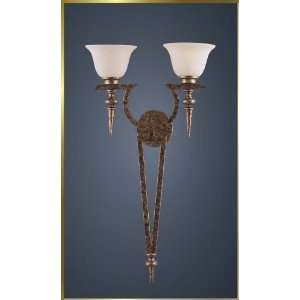 Wrought Iron Wall Sconce, MG 4925, 2 lights, Rustic Gold, 16 wide X