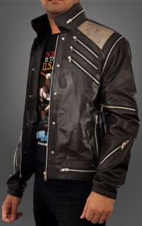 Michael Jackson Beat It Vintage Black Leather Jacket