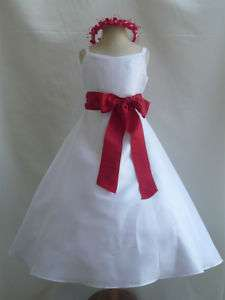 NEW WHITE RED Easter Wedding Pageant Flower Girl Dress