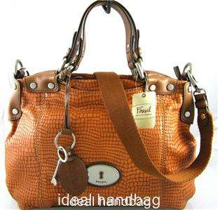 NWT FOSSIL MADDOX ORANGE BROWN LEATHER BAG TOTE $198