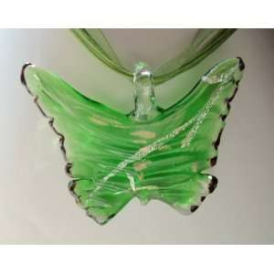 Fashion Jewelry ~ Murano Glass Green Butterfly Pendant Cord and Ribbon