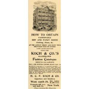 1892 Ad H. C. F. Kock Fashion Clothing Shoes New York   Original Print