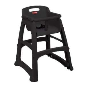 Sturdy Chair Youth Seat With Wheels   Black Finish