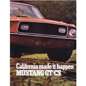 1968 FORD MUSTANG GT/CS Sales Brochure Literature Book