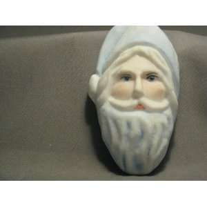 Milk Glass Hand Painted Holiday Blue & Artist Signed Santa Clause Face