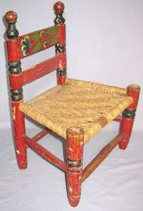 AMERICANA FOLK ART CHILDS CHAIR RUSH SEAT PAINTED DOLL