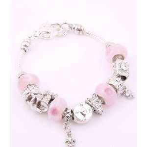 Fashion Jewelry Desinger Murano Glass Bead Bracelet Pink