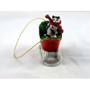 CAT Black White TABBY on a SLEIGH Ride Resin Christmas