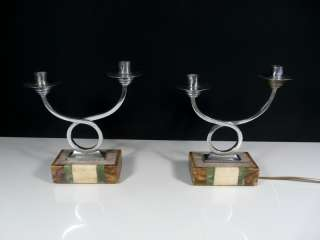 Amazing Pair 1930s Art Deco Candleholder Table Lamps