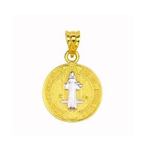 14K Two Tone Gold Small Religious Charm Pendant GoldenMine Jewelry