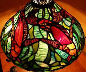 Stained Glass Koi Gold Fish Lamp Shade Blue Teal Water Pond