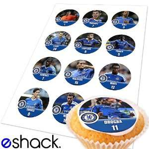 12x Chelsea Team (EPL) Edible Cake Toppers (Birthday