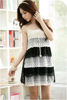 STUNNING TIERED LACE CROCHET FLORAL DRESS BLACK S