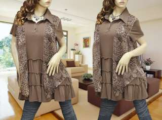 BROWN LEOPARD LAYER 2 STYLE DRESS/TUNIC TOP 1294 XL/XXL