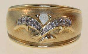 10k yellow gold diamond dolphin ring genuine estate vintage fashion
