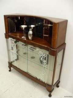 An Unusual Art Deco Walnut Drinks Cabinet /Bar / China Cabinet C1940s