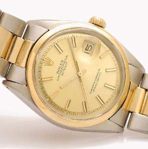 MENS ROLEX OYSTER PERPETUAL DATEJUST REF 1601 AUTOMATIC GOLD & STEEL