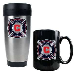 Chicago Fire MLS Stainless Steel Travel Tumbler and Black Ceramic Mug