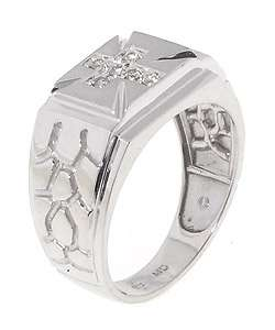 14k White Gold Mens 1/5ct Diamond Cross Ring