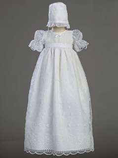 Zoey Girls White Christening Baptism Long Gown Dress