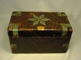 Large Antique Mixed Metal Wood Jewelry Box
