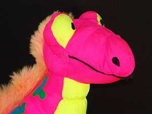 VINTAGE 1993 STUFFINS PINK YELLOW DINOSAUR SOUND DINOROAR PLUSH