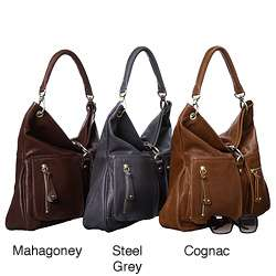 Sorial Large Top zip Leather Hobo Bag