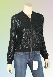 JIMMY CHOO H&M ladies sequins embroidered zip cashmere cardigan