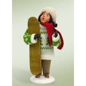 Byers Choice Carolers   Family with Skis and Snowboards   Girl