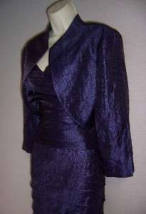 HOWARD Purple Shutter Pleat Formal Gown dress & Jacket 16 NWT