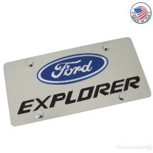 Ford Logo & Explorer Name On Polished License Plate