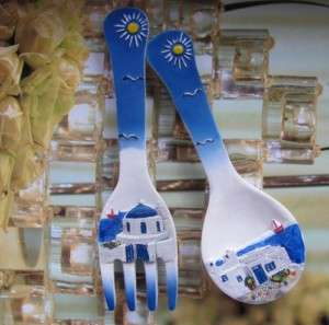 2PC SOUVENIR Greece Spoon& Fork FRIDGE MAGNETS