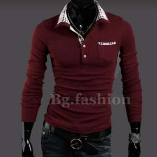 NEW Luxury Mens Casual Stylish Grid Patched Slim Fitted Long Sleeve
