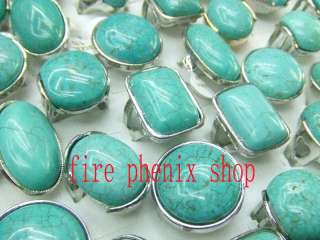 wholesale mixed lots 25 turquoise silver tone rings
