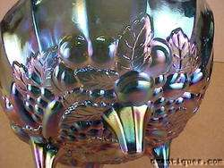 Carnival Glass Large Amethyst Fruit Bowl Grapes Apples