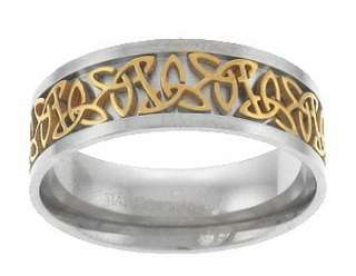 Celtic Ring Stainless Steel Gold Tone US Mens Size 12   18