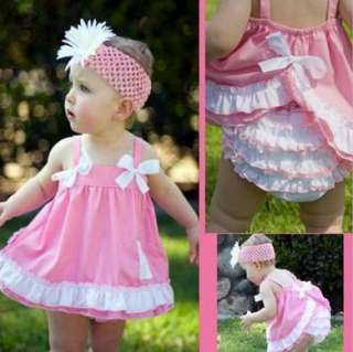 Pink Girl Baby Ruffle Top+Dress Pants Set Bloomers Nappy Cover NB 3Y