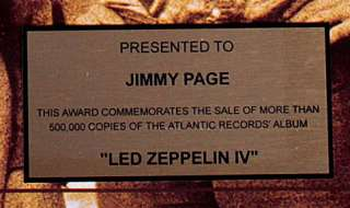 Led Zeppelin IV Gold Record Award non Riaa   To Jimmy Page cd