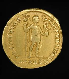 stunning, solid gold Ancient Roman solidus of the Emperor Valens
