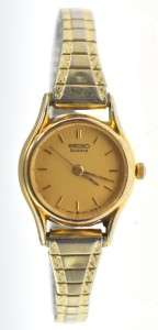 1988 Ladies Seiko Gold Toned Dress Wrist Watch Second Hand Ready To