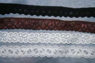 Black BROWN Ivory Cream baby headband stretch lace 1/2 wide