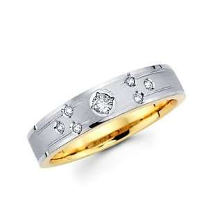 Size  12   .12ct Diamond 14k White Two Tone Gold Hers Wedding Ring