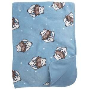 Printed Plush Baby Blanket   Rabbits on Blue
