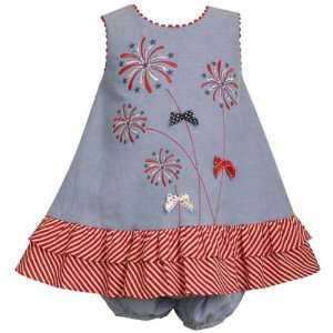 Bonnie Jean Baby/Infant Girls 12M 24M RED WHITE BLUE Embroidered