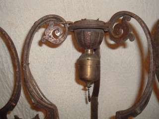 Antique Art Deco Newel Post/Ceiling Lights w Bird Heads Victorian