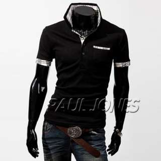 SEXY Men Stylish Classic Casual Polo Shirts Solid Short sleeve mens
