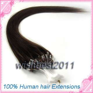 18100S Loop micro ring tips human hair extensions#04 medium brown